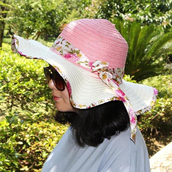 썬캡 여성 플라워 여름 모자 여자 UV차단 바캉스 리본 모자