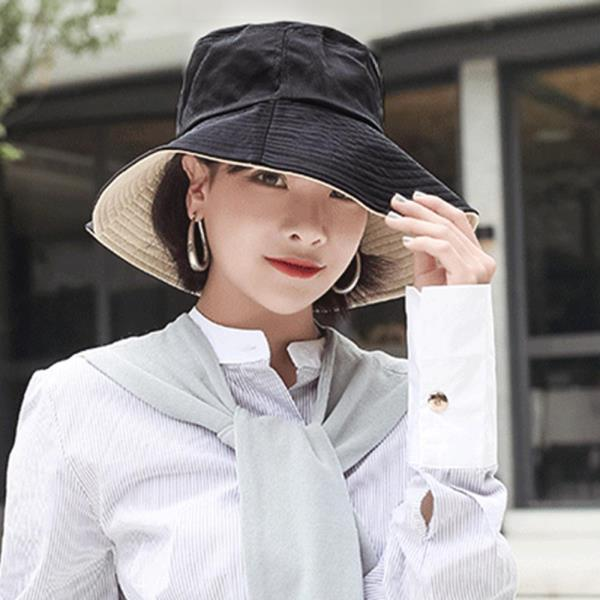 내담쇼핑몰 모자 여성 양면 버킷햇 패션 벙거지 모자(베이지블랙)