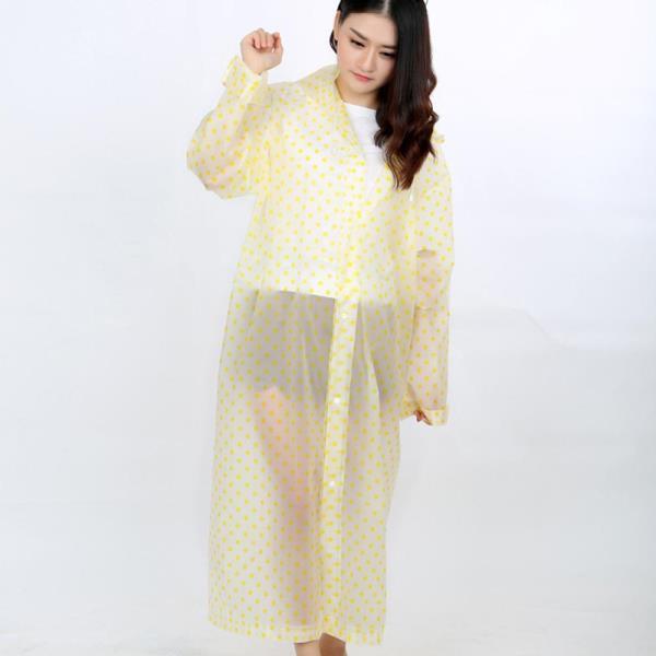 도트무늬 PEVA 우비 패션 레인코트 우의 비옷옐로우