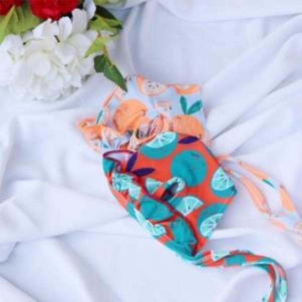 강아지 프릴 수영모자 여름 수영장 블루그린색상 수영복 헤어 악세서리