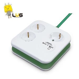 공구 전기용품 안전용품 내담쇼핑몰 사각 USB 멀티탭 2포트 3구 (그린)