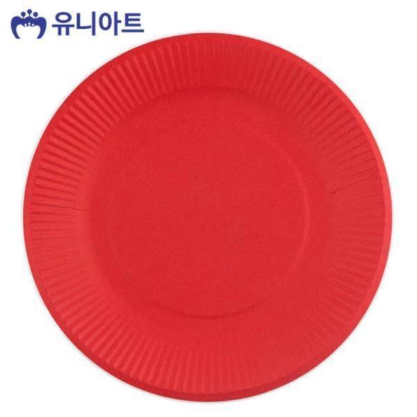 2000 칼라 종이접시 (10개입) (빨강)
