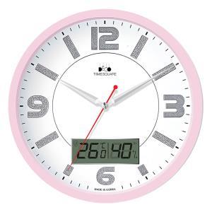 CN-300PM 무소음 핑크실버 온습도 벽시계