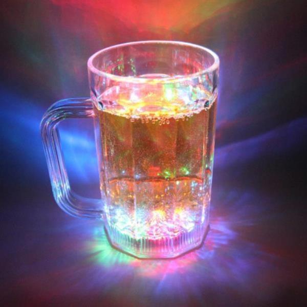 [야 원샷 LED 맥주잔 500ml]맥주컵 머그 컵 술잔 술컵