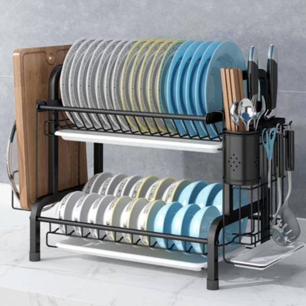 주방용품도매시장 멀티 식기건조대 스테인레스 튼튼한 내구성 그릇18개 접시17개 수납가능 다용도걸이 슬라이드방식 쟁반형 물받이