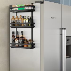 오즈리빙 블랙 냉장고선반 3단 주방선반 벽걸이선반