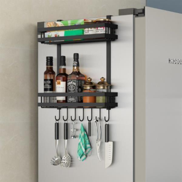 오즈리빙 블랙 냉장고선반 2단 주방선반 벽걸이선반