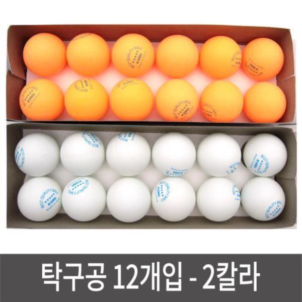 탁구공 12개입 2칼라 박스 연습용 경기용