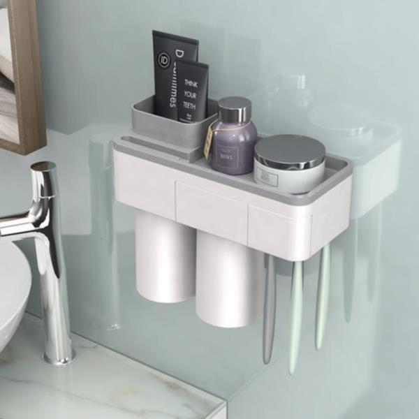 양치세트 양치컵 플라스틱 칫솔걸이  세트 홀더 ABS칫솔걸이 2인용 붙이는 칫솔걸이 욕실홀더 욕실컵걸이 홀더거치대 양치컵세트