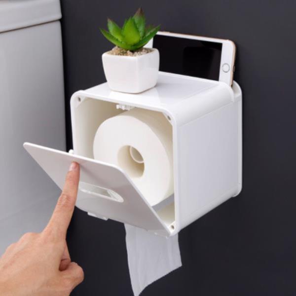 방수 화장실 휴지걸이 화장지걸이 원터치거치 선반형