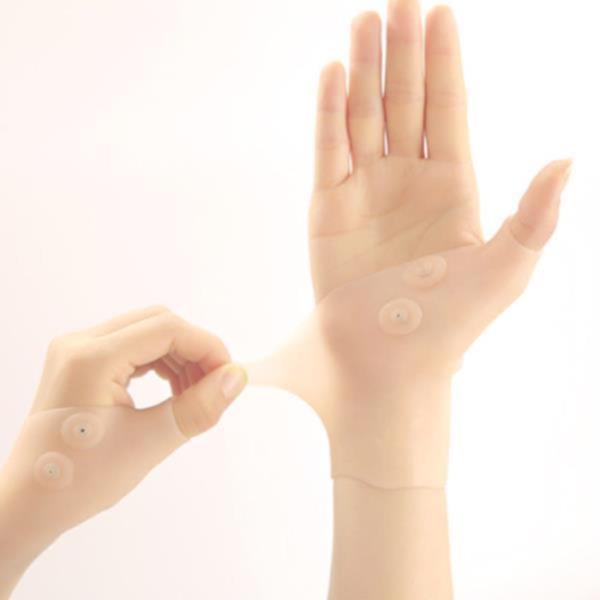 마그네틱 실리콘 손목 팔목 통증 아대 보호대 살구색