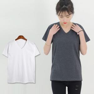 DGI1824-1 여자기본브이반팔면티셔츠 -빅사이즈99까지
