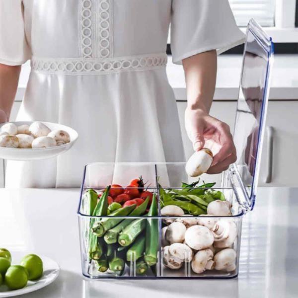 고급형 투명 칸막이 야채보관 냉장고정리함