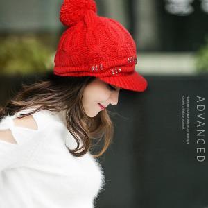 큐빅 여성 겨울 방울 챙 니트 털 기모 모자