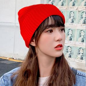 US 비니 겨울 여성 기모 패션 방한 모자 여자 니트