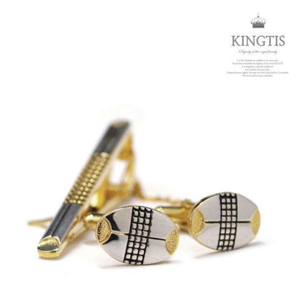 KINGTIS 예쁜 디자인 넥타이핀+커프스버튼 세트