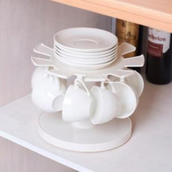 원형 회전 컵걸이 접시 그릇 소서 수납정리대
