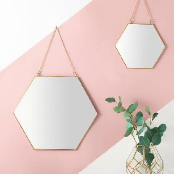 벽걸이 골드 황동 육각 스트랩 거울