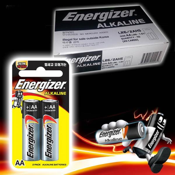 에너자이저 알카라인 AA건전지 40P 박스 LR6 밧데리