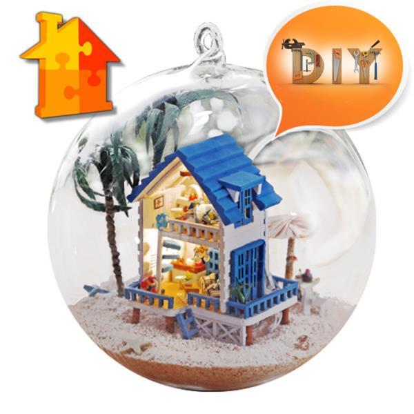 DIY 돌하우스 해변별장미니 글라스볼 만들기