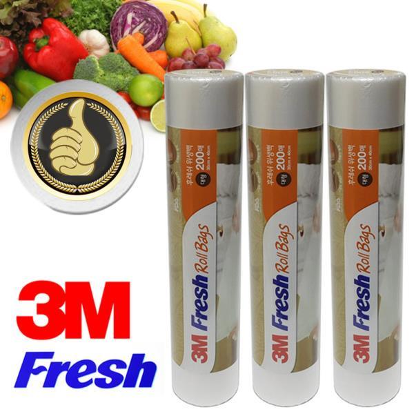 3M Fresh 롤위생백 대형 3롤 총600매