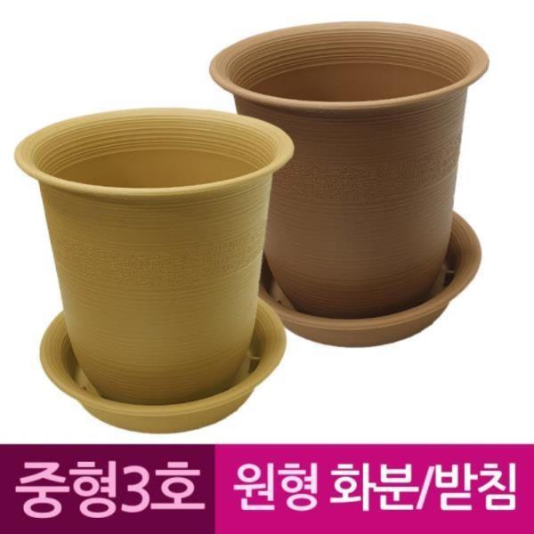 웰빙 원형 플라스틱화분 화분받침 중형3호