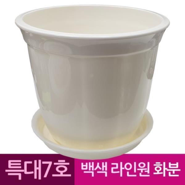 라인원형 백색 도자기느낌 플라스틱화분 7호