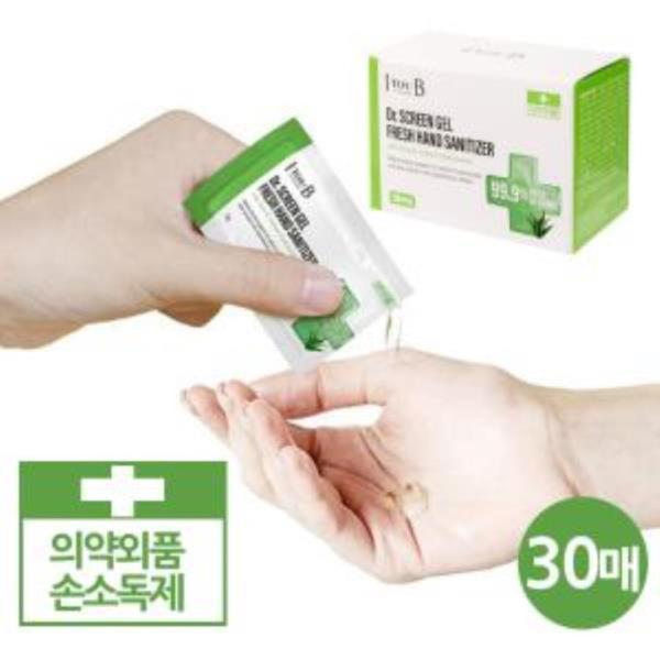 닥터스크린 일회용 에탄올 손소독제 30매통
