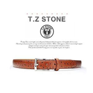 (티지스톤)-TZ1D102LB 클래식 타조패턴 연브라운벨트