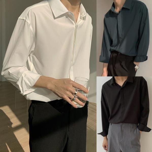 긴팔티 브라운셔츠 긴팔케주얼셔츠 남방 남성  미니멀  플라켓 베이직 남자 오버핏 히든 긴팔 셔츠