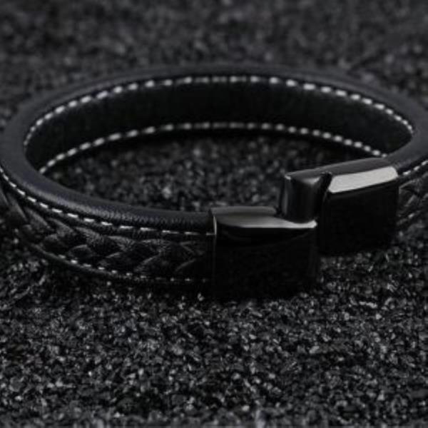 블랙 티타늄 패션 가죽 남성 팔찌-블랙