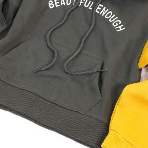 아동 꾸안꾸 데일리 스타일 배색 포인트 후드 티셔츠 (XS~L)