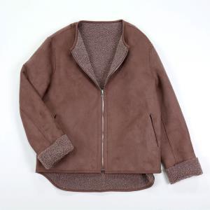 리버시블 숏 무스탕 내추럴브라운 스웨이드 양면 양털 뽀글이 후리스 집업 자켓