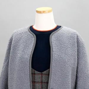 양털 뽀글이 무스탕 양면 재킷 블루그레이 스웨이드 노카라 자켓 가을 겨울 여성 숏코트 66 77 빅사이즈