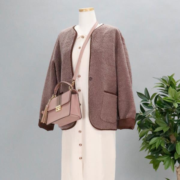 양털 무스탕 숏 핑크브라운 양면 노카라 라운드넥 리버시블 뽀글이 후리스 자켓