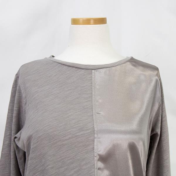 간절기 얇은 샤틴 새틴 배색 긴팔 티셔츠 브라운 66 77 88