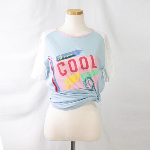 프린팅 여름 면 이너 기본 여성 반팔 티셔츠 라이트블루 44 55 66