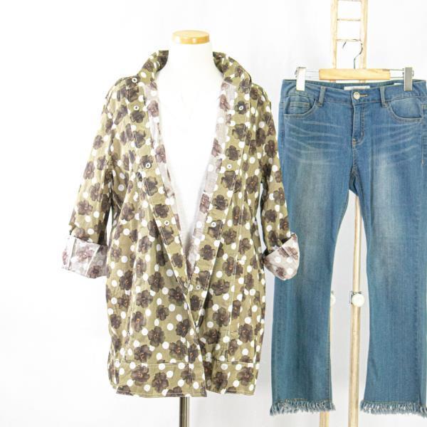 내담쇼핑몰 재킷 여성 간절기 자켓 셔츠 플라워 패턴 얇은 레이어드 남방 카키