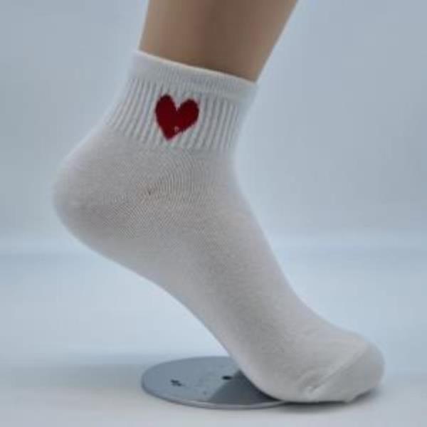 여자 숙녀여성 여학생 발목양말 흰색하트양말 5족