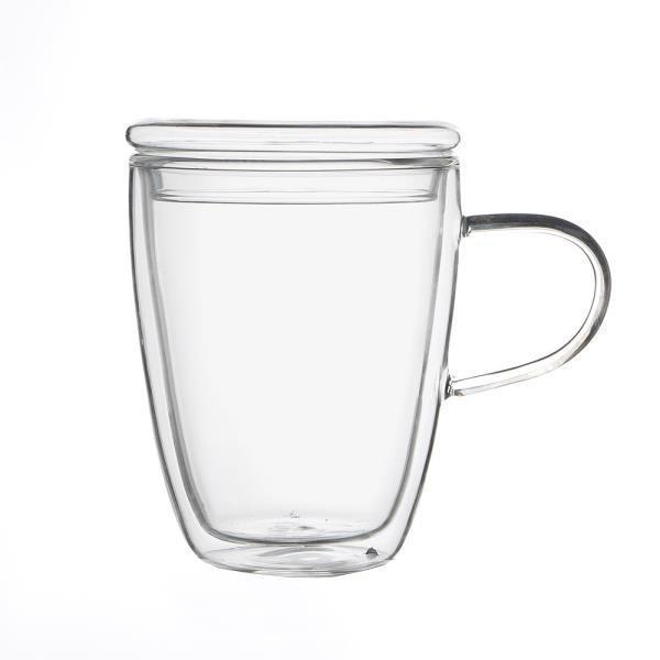 [로하티]바오 뚜껑 유리컵 300ml 이중유리 머그컵