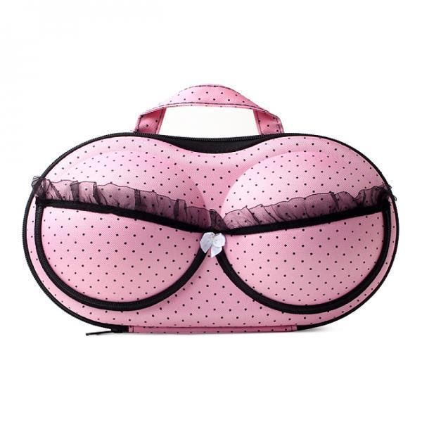 핑크 도트 브래지어케이스 여행용 속옷파우치