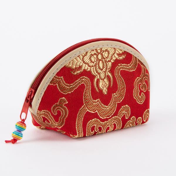실크 자수 부채꼴 지갑(소)자수 동전지갑