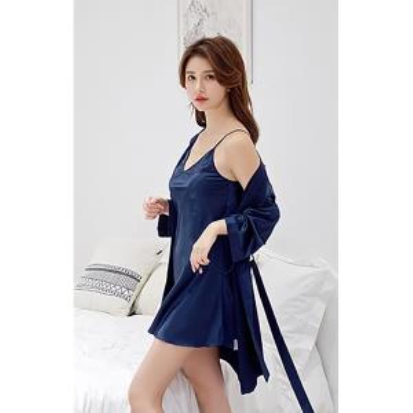잠옷 실키나잇 여성 잠옷세트 네이비 나이트가운 슬립세트