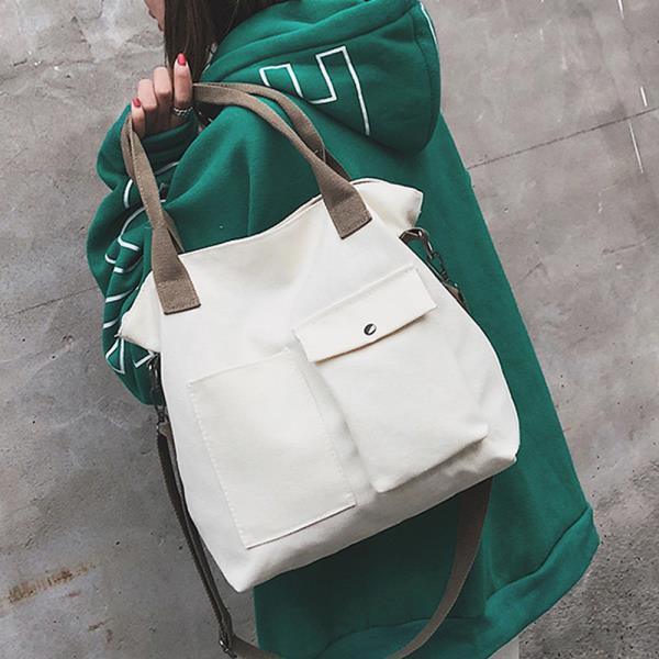 패션 여성가방 숖더백 크로스백 포켓 크로스 캔버스백화이트 캐주얼 에코백