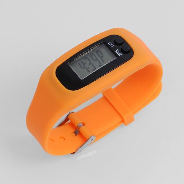 스마트만보기 실리콘밴드 만보기 시계 오렌지