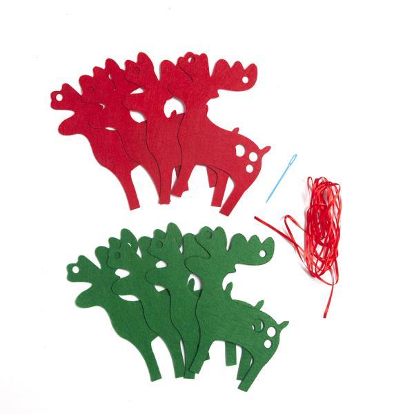 크리스마스 패브릭 가랜드(사슴)성탄 트리장식 벽장식