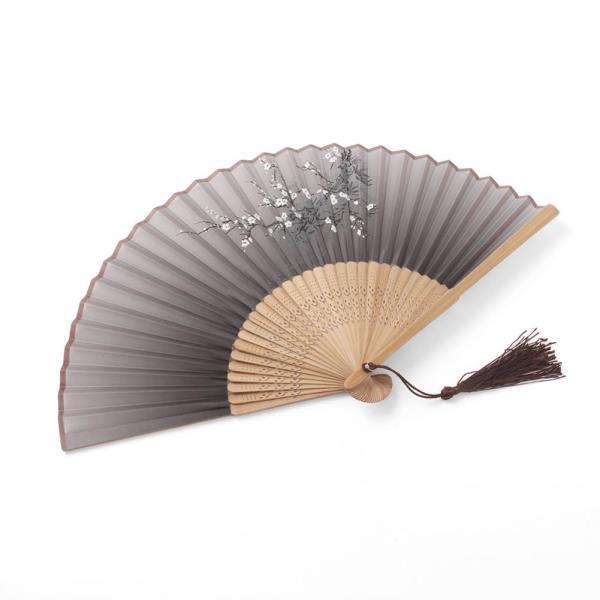 매화꽃 접이식 대나무 부채 여름 실크 전통