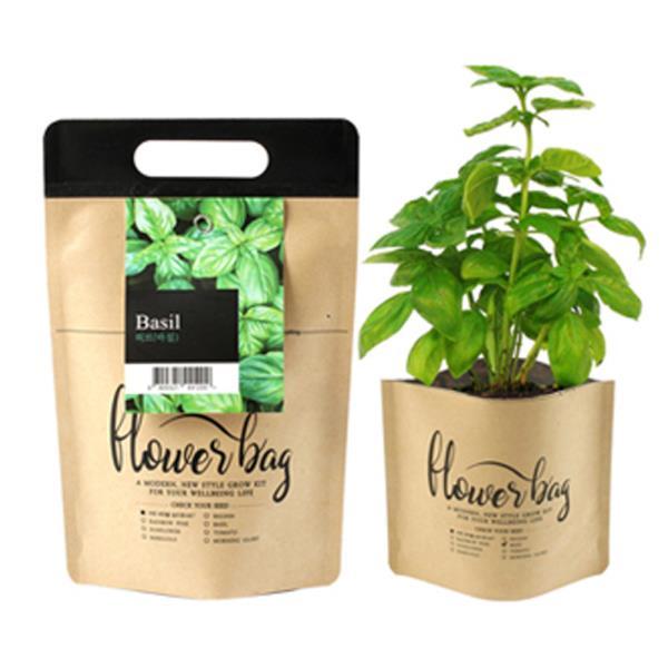 키우기쉬운식물 미니 방수화분 재배 세트 허브바질