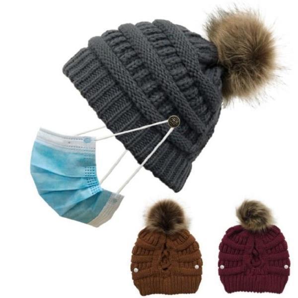 여자 겨울 마스크 버튼형 니트 방울털 모자