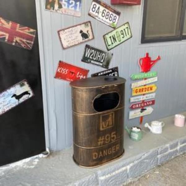 빈티지 드럼통 모양 유니크 인테리어 철제 쓰레기통